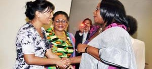 • First Lady Dr Christine Kaseba welcomes  Madagascar's  First Lady Voahangy Rajaonarimampianina on arrival at AU buildings for the 13 th Extra-Ordinary General Assembly of OAFLA in Addis Ababa, Ethiopia on January 31,2014. Picture by  THOMAS NSAMA