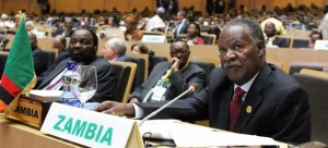 • President Michael Sata addresses the African Union Summit in Addis Ababa yesterday. Picture by EDDIE MWANALEZA - State House