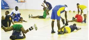 •VOLLEYBALL players exercising at the National Sports Development Centre in Lusaka in readiness for the 2014 World Cup qualifiers slated for Kenya. Picture by SHAMAOMA MUSONDA