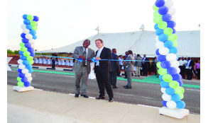 • ACTING Commerce, Trade and Industry director for industry, Boniface Kunda with Roma Industrial Park director Shaun Davy during the launch of the second phase of the park recently. Picture courtesy of KPR CONSULTING.