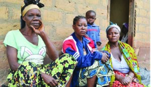 • BEATRICE Muleba (centre) narrates how her daughter was killed by a crocodile while swimming in the Kafue River.  Picture By Moffat Chazingwa