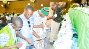 • Delegates cast their votes during the Copperbelt Patriotic Front (PF) elections held on Saturday evening at Ndola's Hindu Hall. Picture by JAMES KUNDA
