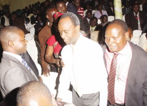 • NEWLY elected Local Government Association of Zambia president Mulenga Sata (centre) being congratulated by supporters after his victory at Solwezi's Kansashi Hotel yesterday.Picture by HUMPHREY MULENGA