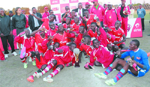 •SOUTHERN Province-based Airtel Rising Stars playing at Bharat Sports Complex in Livingstone recently.  Picture by BRIAN HATYOKA