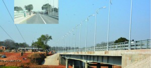 • The newly completed Chiawa Bridge which has been named after President Michael Sata before commissioning by Vice-President Guy Scott yesterday. Pictures by Roy Sibajene