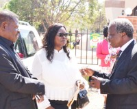 • FORMER First Lady Maureen Mwanawasa (centre) with People's Party president Mike Mulongoti (right) and former State House private secretary Alfred Chipoya after the memorial of the late President Levy Mwanawasa at Embassy Park in Lusaka yesterday. Picture by CLEVER ZULU