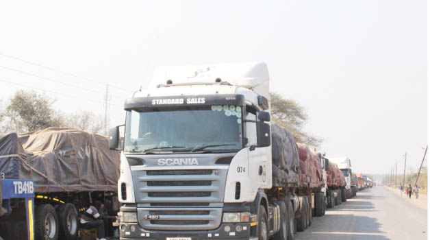 • SOME of the trucks from Democratic Republic of Congo that are marooned at Kazungula Border Post after they were denied entry into Botswana. Picture by BRIAN HATYOKA