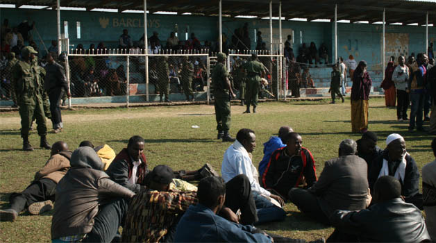 Part of the 600 foreigners suspected to be prohibited immigrants,  who were rounded up by a combined team of officers from the Immigration Department, Drug-Enforcement Commission (DEC) and Police in Ndola yesterday.