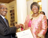 • First Lady Dr Christine Kaseba being inaugurated as a special envoy for e-Health by International Telecommunications Union secretary general Hamadoun Toure at Yale Club.  This was on the sidelines of the 69th UN General Assembly in New York on Sunday. Picture by THOMAS NSAMA