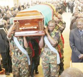 • PALLBEARERS carry the casket for the late freedom fighter Peter Matoka during the requiem mass at the New Apostolic Church in Lusaka yesterday. Picture by CLEVER ZULU