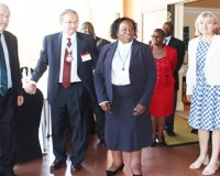 • VICE -President Guy Scott ( left) with Commonwealth Magistrates' and Judges' Association conference president John Vertes, acting Chief Justice Lombe Chibesakunda and Charlotte Scott (far right) at Zambezi Sun Hotel yesterday. Picture by BRIAN HATYOKA