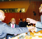 • PRESIDENTS Robert Mugabe of Zimbabwe (right) and Yoweri Museveni of Uganda, share a light moment with Zambia's Foreign Affairs Minister Harry Kalaba (centre) at UN Headquarters in New York on Monday. Picture by CHIBAULA SILWAMBA