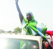 •LANDSLIDE: Margaret Miti of the PF celebrates after she won the Vubwi Parliamentary seat by a wide margin.