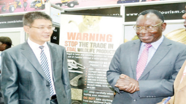 • HEALTH Minister Joseph Kasonde (right) with Chinese Ambassador to Zambia Yang Youming (left) at the launch of the thermal scanner to detect the deadly Ebola virus at the Kenneth Kaunda International Airport in Lusaka yesterday. Picture by CHUSA SICHONE