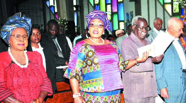• ZAMBIAN freedom fighter Mama Chibesa Kankasa (left) with former First Lady Vera Chiluba, freedom fighters Grey Zulu and Aaron Milner during the inter-denomination Golden Jubilee prayers at the Cathedral of the Holy Cross in Lusaka yesterday. Vice-President Guy Scott. Picture by ELIAS CHIPEPO