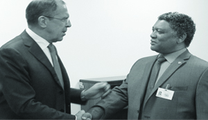 •RUSSIAN Foreign Affairs Minister, Sergey Lavrov( Left) with then Zambian Foreign Affairs minister, Given Lubinda when the two met in New York, USA in 2012.