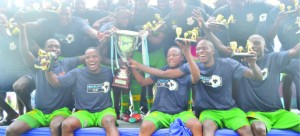 • FOURTH HEAVEN ... ZESCO United players celebrate after winning the 2014 Barclays Cup yesterday at Levy Mwanawasa Stadium in Ndola. Zesco beat Nkana 3-0 to lift the Barclays Cup for the fourth time. Picture by DAVID KANDUZA