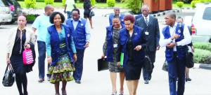 • HEAD of the SADC Electoral Observation Mission (SEOM) Maite Nkoana-Mashabane (second left), leading other members of the observer mission on arrival for a Press briefing at Cresta Goff view Hotel in Lusaka yesterday.