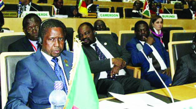 • PRESIDENT Lungu follows proceedings at the African Union (AU) summit in Addis Ababa,  Ethiopia yesterday.