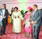 • (From Left to right), First Republican President Kenneth Kaunda, President Edgar Lungu, Vice-president Inonge Wina, Tanzanian First Lady Salma, President Jakaya Kitwete and First Lady Esther take to the dance floor during a State Banquet at Pamodzi Hotel on Wednesday night. Picture By Eddie Mwanaleza.