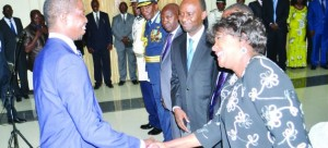 • PRESIDENT Edgar Lungu (left) shares a light moment with Commerce, Trade and Industry Minister Margaret Mwanakatwe and State House Deputy Minister Mulenga Sata after the swearing-in ceremony in Lusaka yesterday. Picture by CLEVER ZULU