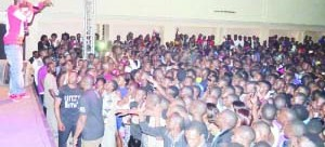 • Macky2 performs for students at UNZA during the Freshers' Bash. Picture by CHUSA SICHONE.