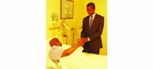 • PRESIDENT Edgar Lungu prays for Dr Kaunda when he visited him at Lusaka Trust Hospital. Picture by SALIM HENRY