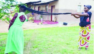 •Lister Phiri  (left) with her neighbour showing off the length of her hair. Picture by CHUSA SICHONE.