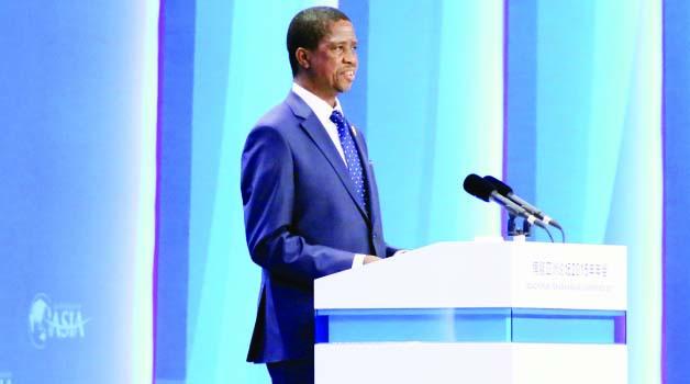 • President Edgar Lungu addressing the BOAO forum in China