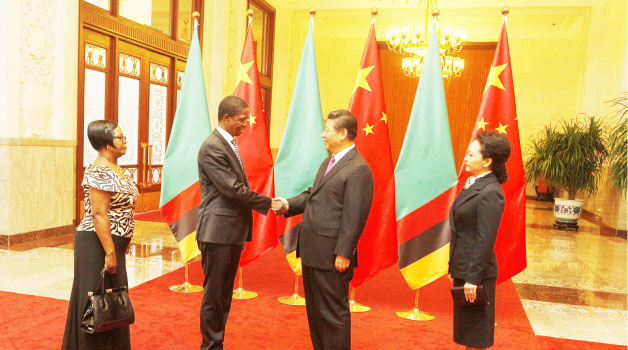 • PRESIDENT Edgar Lungu  and First Lady Esther Lungu being welcomed by Chinese President Xi Jinping and his wife Peng Liyuan at the Great Hall of the People in Beijing yesterday. Picture by SALIM HENRY/STATE HOUSE