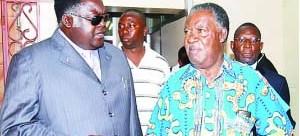 •WILLIE Nsanda (l) with President Michael Sata