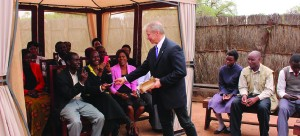 •US Ambassador to Zambia Eric Schultz (middle) interacting with teachers and other members of the community in Mukuni Chiefdom in Kazungula District recently. Picture by BRIAN HATYOKA.