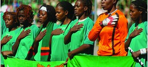 • THE Shepolopolo sing the national anthem before a match.