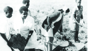 •Nurses and general workers at Ndola's Arthur Davison Hospital work on a piece of land during the Humanism week in 1977.