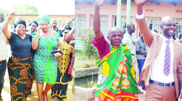 • PATRIOTIC Front candidate for Petauke Central, Dora Siliya (second left) after filing her nomination yesterday, (right) UPND candidate Allan Zulu (in suit) waves to his supporters after also successfully filing  his nomination. Pictures by JULIUS PHIRI.