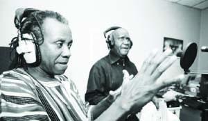 • VETERAN musician Rikki Ililonga with former president Kaunda in the studio.