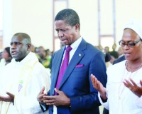 • PRESIDENT Edgar Lungu joins parishioners in prayer during a church service at Saint Daniels Parish in Solwezi yesterday. Picture By Eddie Mwanaleza