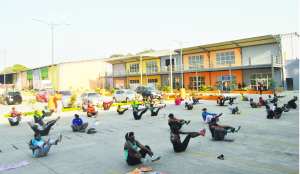 • AN aerobics session at Rekay's Shopping Mall in Ndola.