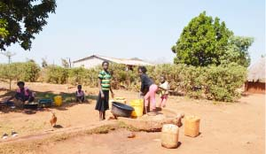 •Children drawing water at the only borehole at Mulyata Village in Maria Chimona. Pictures by MLDRED KATONGO