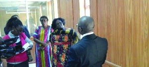 •Kabwe Principal Resident Magistrate John Mbuzi  talking to Gender  Permanent Secretary Daisy Ngambi and her Central Province counterpart Edwidge Mutale . Pictures by  SYLVIA MWEETWA