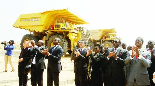 •PRESIDENT Edgar Lungu (right) and his Namibian counterpart Hage Geingob (second from right) during a tour of Husab Uranium Mine in Arandis Region, Namibia, yesterday. Picture by SALIM HENRY/STATE HOUSE