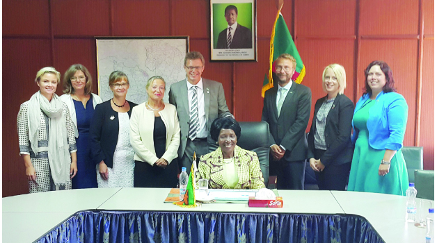 •ACTING President Inonge Wina yesterday met a high-level delegation of MPs from Parliament of Sweden. She is captured here with Swedish MPs Ulrika Karlsson, Maria Andersson Willner, Annika Lillemets, Ola Johansson, Karin Ragsjo and Christina Ornebjar. Picture courtesy of the Zambian Embassy in Sweden