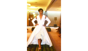 •A model showcasing Musha collection attire at mangishi fashion show held at intercontinental last friday.