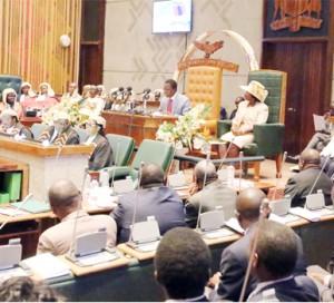 •President Lungu addresses Parliament yesterday.