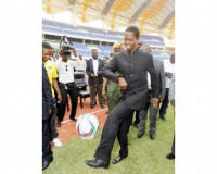 •PRESIDENT Lungu juggles the ball when he visited the Chipolopolo squad at Heroes National Stadium yesterday. Picture by SALIM HENRY/STATE HOUSE.