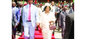 • PRESIDENT Edgar Lungu (left) with First Lady Esther after officially opening the Fifth Session of the Eleventh National Assembly in Lusaka yesterday.  Picture by THOMAS NSAMA/STATE HOUSE