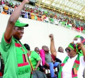 • GOOOOOAL!!! PRESIDENT Edgar Lungu and First Lady Esther, celebrate as Zambia thumped Sudan 2-0,  to get to the group stages of the Russia 2018 FIFA World qualifiers at the Levy Mwanawasa Stadium in Ndola yesterday.  Picture by THOMAS NSAMA/STATE HOUSE