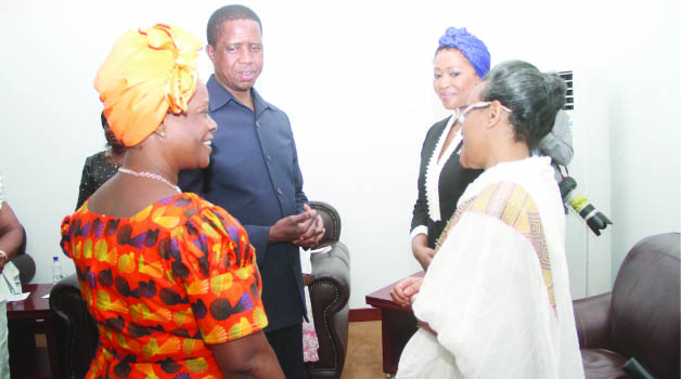 •PRESIDENT Edgar Lungu with First Lady Esther, South Africa's First Lady Tobeka Zuma and Ethiopia's First Lady Roman Tesfay during the opening of the First African Girl Summit on Ending Child Marriage in  Africa held at the Government Complex in Lusaka yesterday. Picture by THOMAS NSAMA/STATE HOUSE