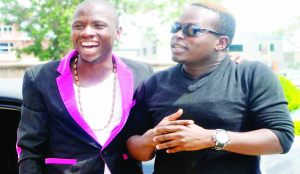 • UGANDAN comedian King Kong (right) is welcomed by his local counterpart Collins Zulu  when he arrived at Kenneth  Kaunda  international Airport on Thursday. Picture by MICHELO HIMAAMBO.