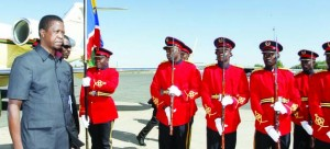 •President Edgar Lungu inspects the quarter guard mounted by the Namibian Defence Force at Eros Airport in Windhoek, Namibia, yesterday. This was upon his arrival for the Consultative Summit of the African Union Committee of 10 Heads of State on the Reform of the United Nations Security Council. Picture by SALIM HENRY/STATE HOUSE